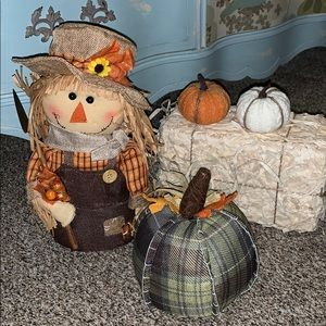 Fall bundle of decor SCARECROW PUMPKINS HAY CUTE